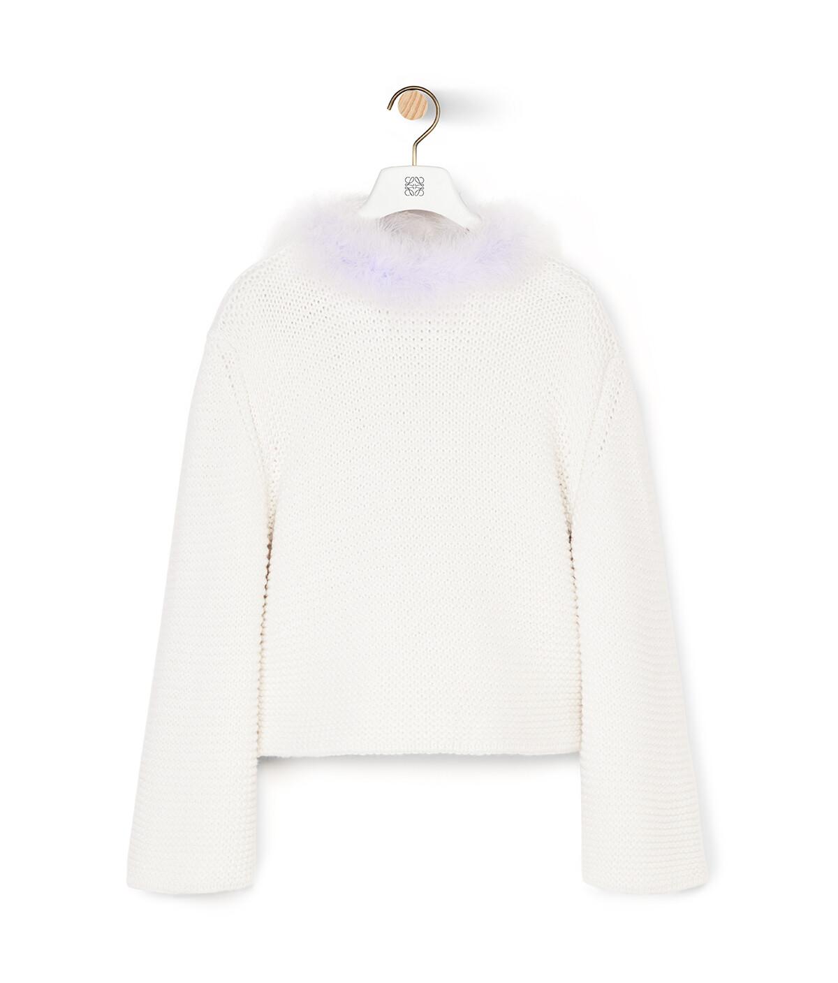 LOEWE Feather Trim Sweater Blanco/Morado front