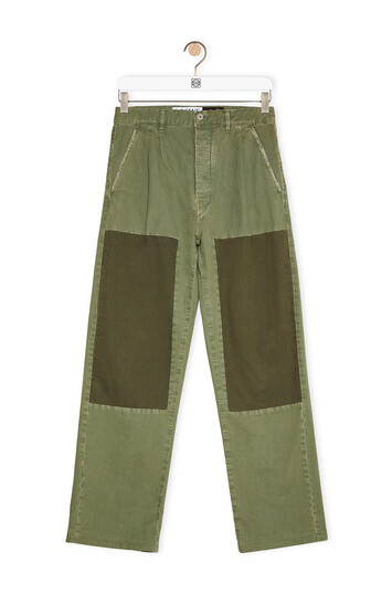 LOEWE Trousers In Cotton Khaki Green/Dark Khaki Green front