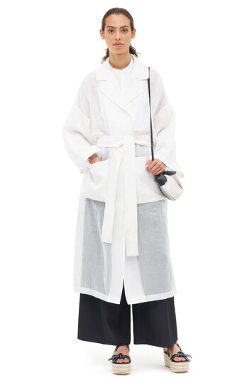 LOEWE Organdy Oversize Belted Coat White front