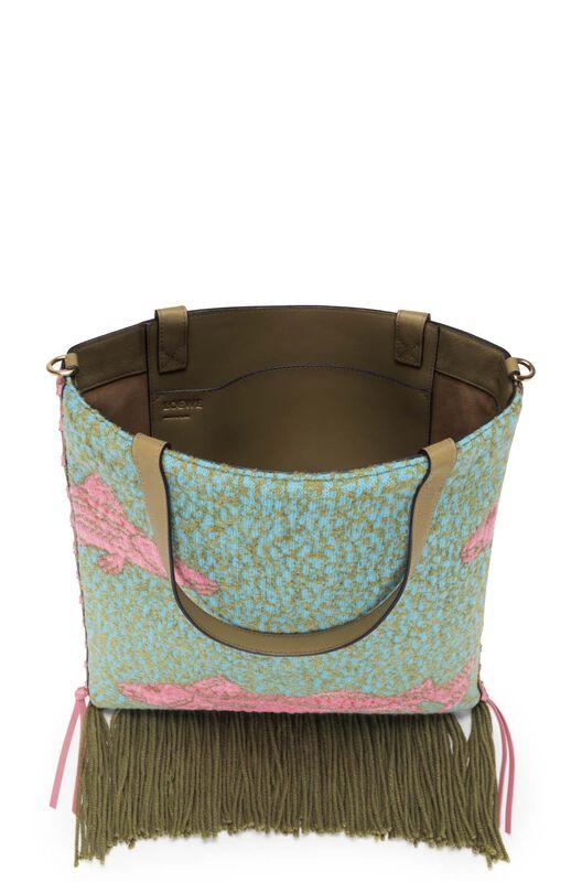 LOEWE Vertical Tote Fishes Bag Green/Tan all