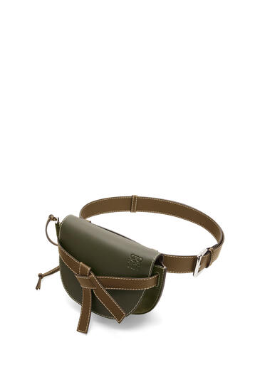 LOEWE Large Gate bumbag in suede and calfkin Khaki Green pdp_rd
