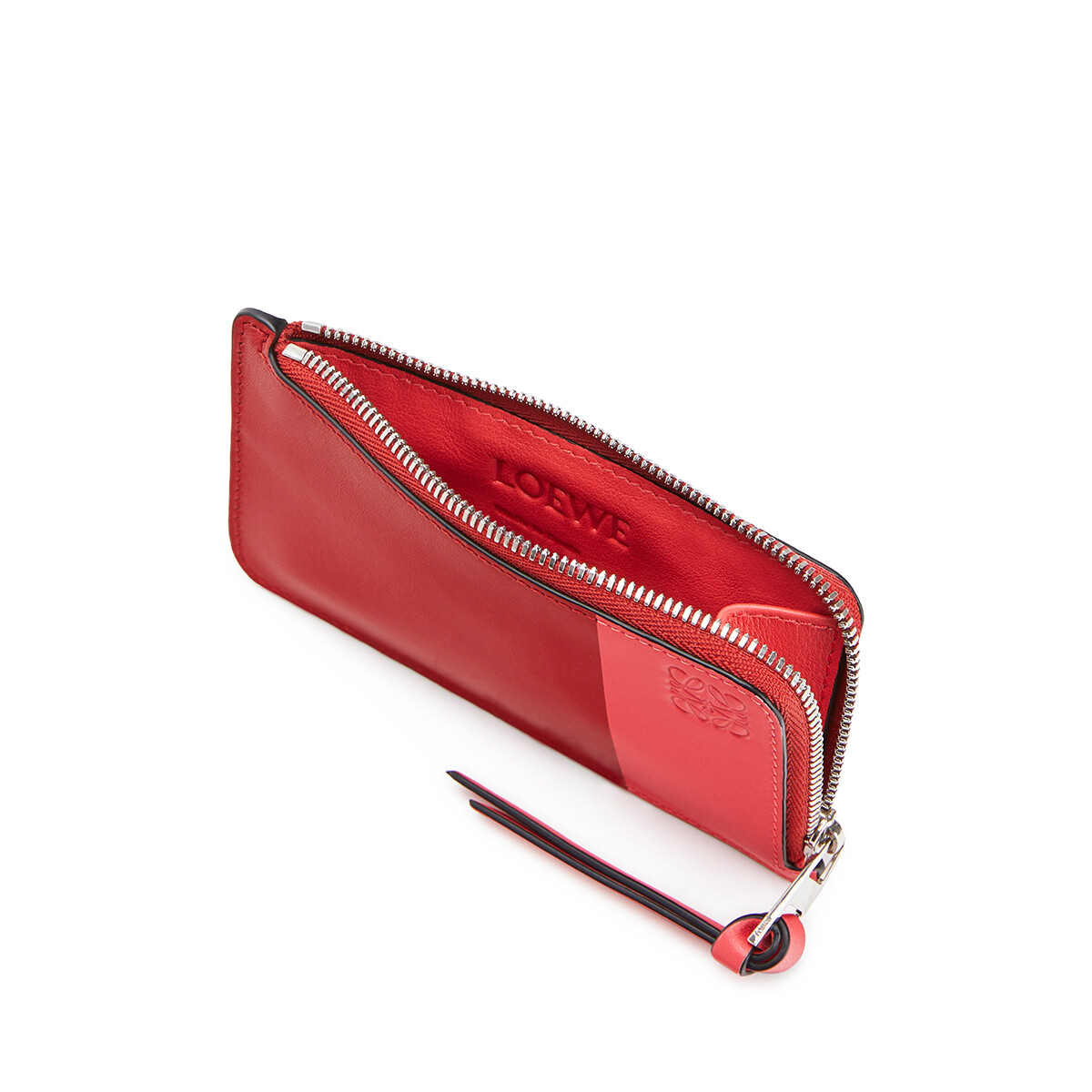 LOEWE Color Block Coin Cardholder Pomodoro/Poppy Pink front