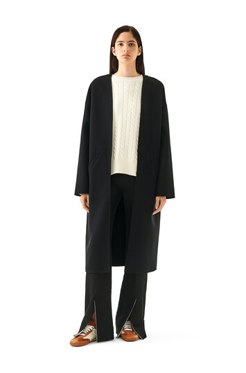 LOEWE Collarless Coat Black front