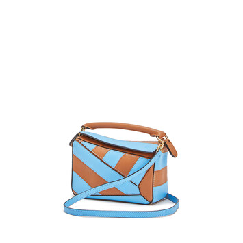 LOEWE Bolso Puzzle Rugby Mini Bronceado/Azul Celeste front