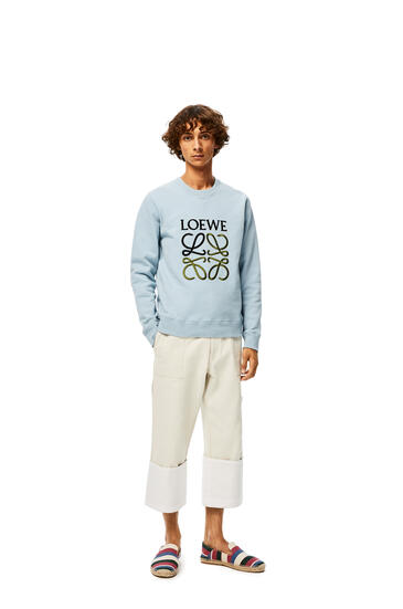 LOEWE Anagram Embroidered Sweatshirt In Cotton Baby Blue pdp_rd