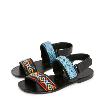 LOEWE Paula Flat Sandal Trenza Azul Multitono front