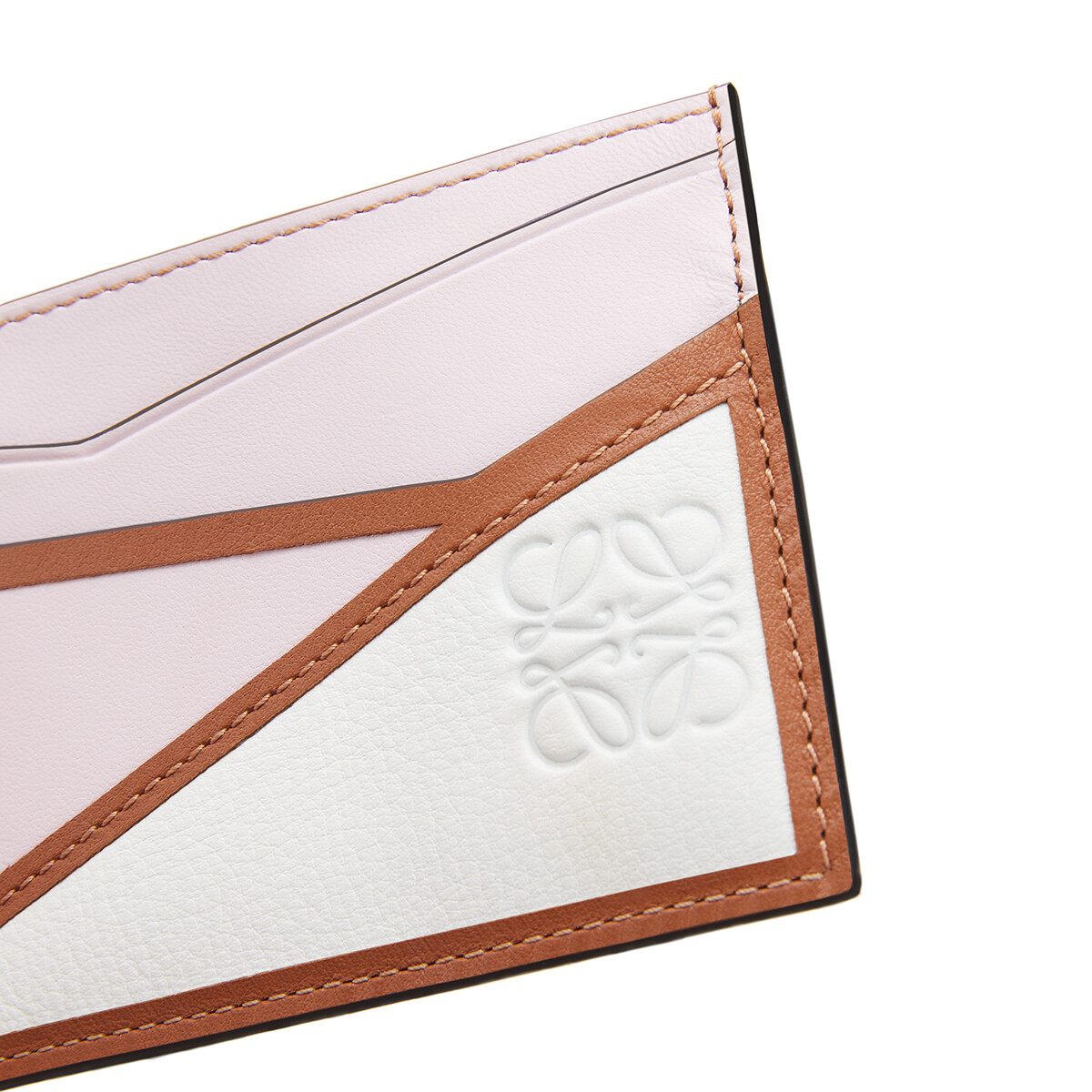 LOEWE Puzzle简约卡包 Icy Pink/Soft White front