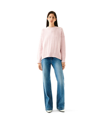 LOEWE Cable Crewneck Sweater Rosa Bebe front