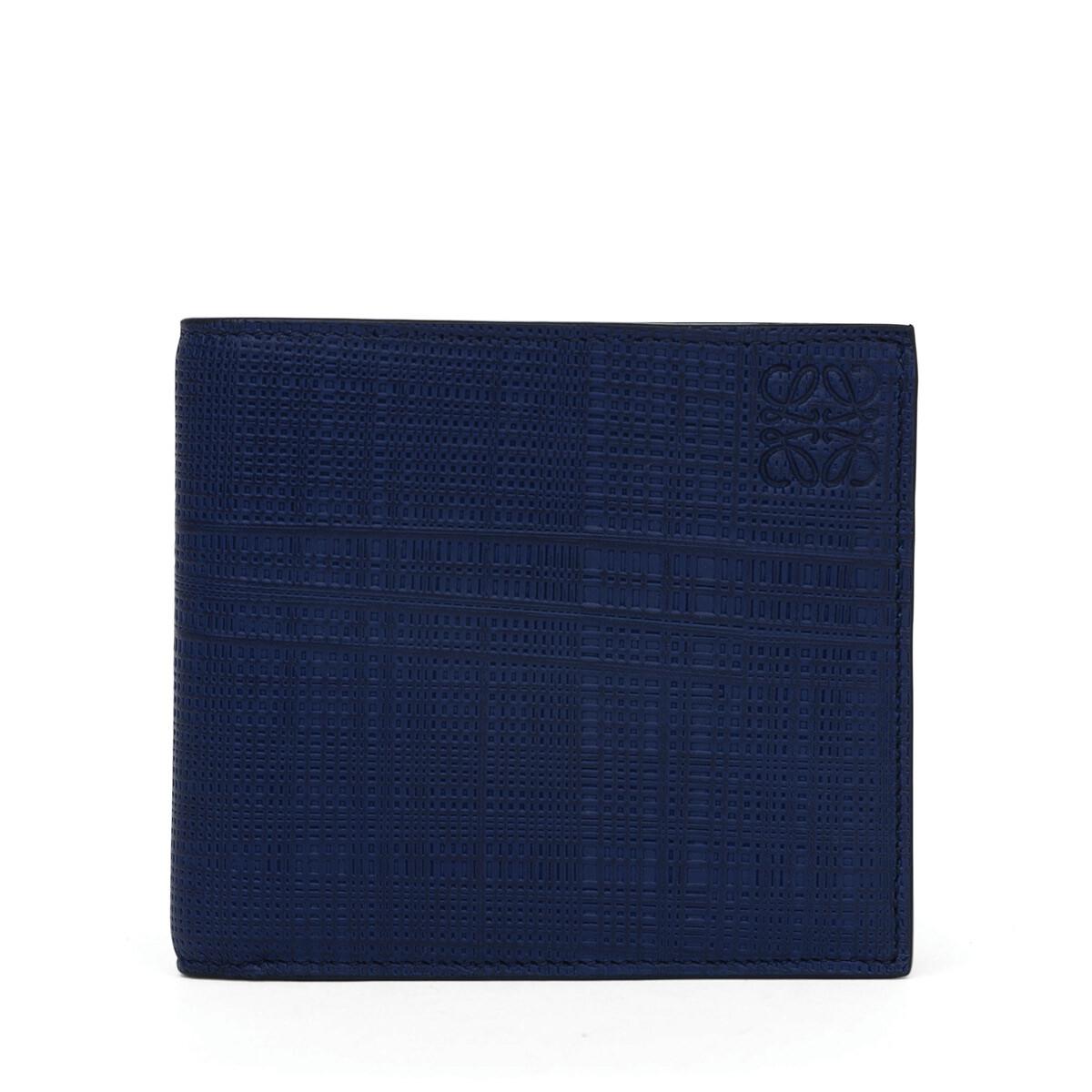 LOEWE Linen Bifold/Coin Wallet Navy Blue front