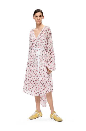 LOEWE 花朵印花衬衫连衣裙 白色/粉色 front