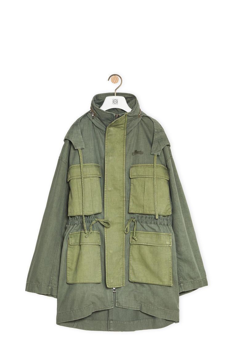 LOEWE Pocket hooded parka in cotton Dark Khaki G/Light Khaki G pdp_rd