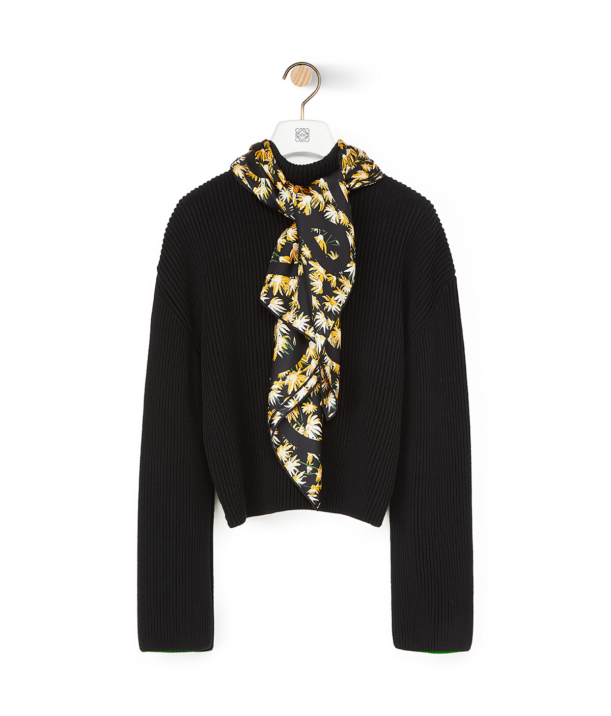 LOEWE Daisy Silk Scarf Sweater Black front