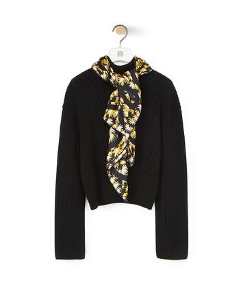 LOEWE Daisy Silk Scarf Sweater Negro front