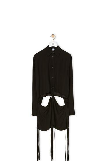 LOEWE Camisa en viscosa con panel y cordón Negro pdp_rd