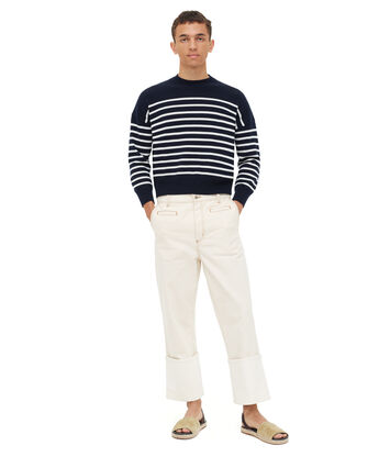 LOEWE Cropped Sweater Stripes Blue/White front