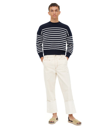 LOEWE Cropped Sweater Stripes Azul/Blanco front