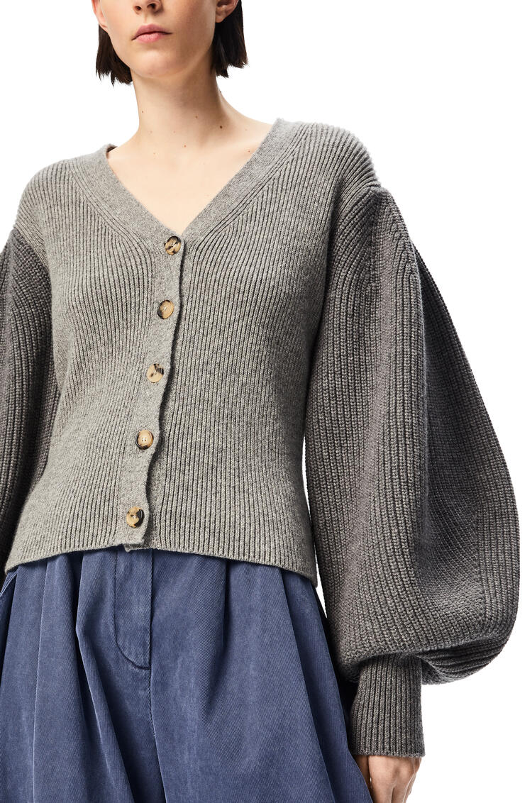 LOEWE Balloon sleeve cardigan in wool Grey pdp_rd