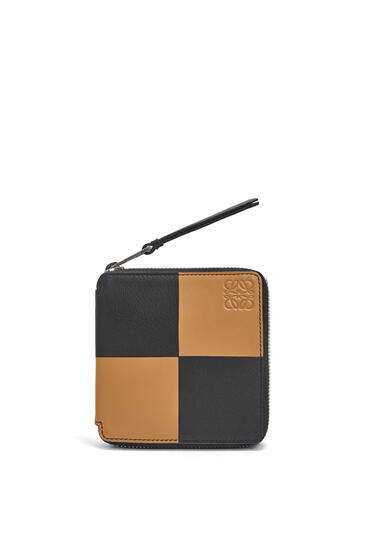 LOEWE Bicolor Square Zip Wallet In Classic Calfskin Ochre/Taupe pdp_rd