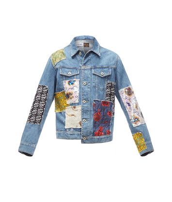 LOEWE Paula Patchwork Denim Jacket Indigo/Multicolour front