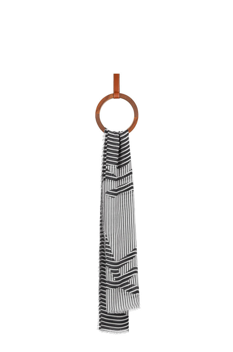 LOEWE Anagram stole in modal and linen Black/White pdp_rd