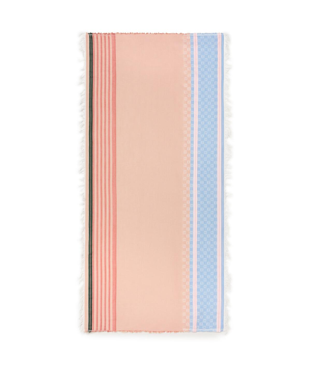 LOEWE 70X157 Scarf Stripe Anagram Pink/Blue front