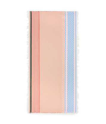 LOEWE 70X157 Scarf Stripe Anagram Rosa/Azul front