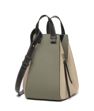 LOEWE Hammock Medium Bag Oat/Khaki Green front