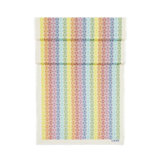 LOEWE 70X200 Scarf Anagram In Lines Blanco/Multicolor front
