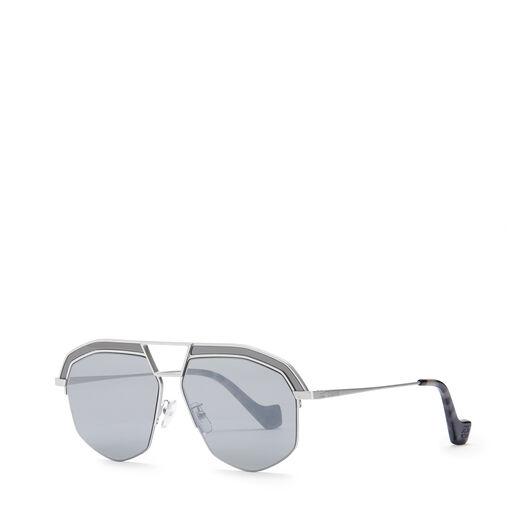 LOEWE Gafas Geometricas Rodio Mate/Gris front