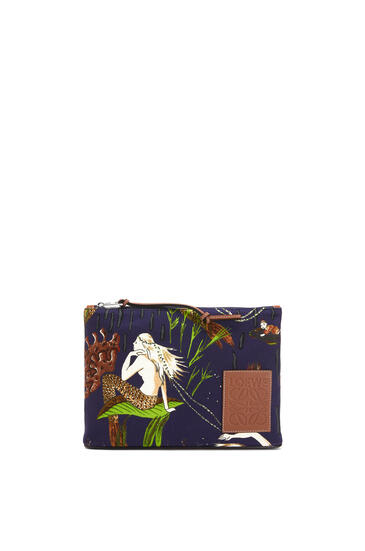 LOEWE Oblong Pouch In Mermaid Canvas And Calfskin Burgundy/Marine pdp_rd