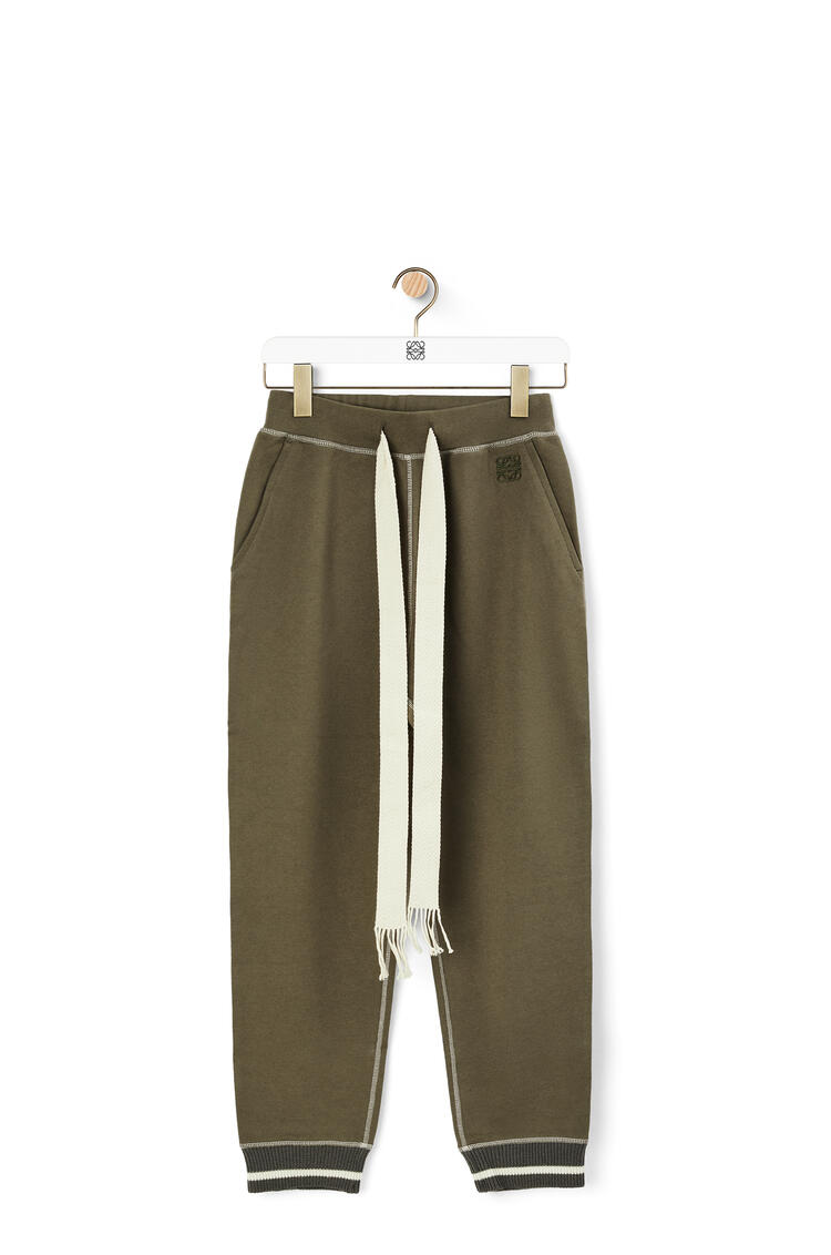 LOEWE Anagram embroidered track trousers in cotton Khaki Green pdp_rd