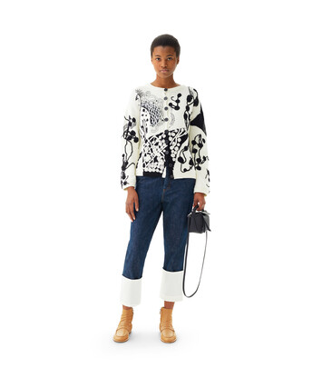 LOEWE Crochet Flower Cardigan White/Black front