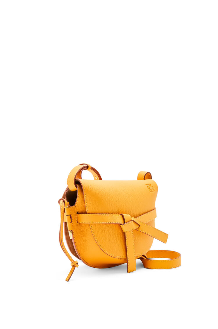 LOEWE Small Gate bag in pebble grain calfskin Yellow Mango pdp_rd