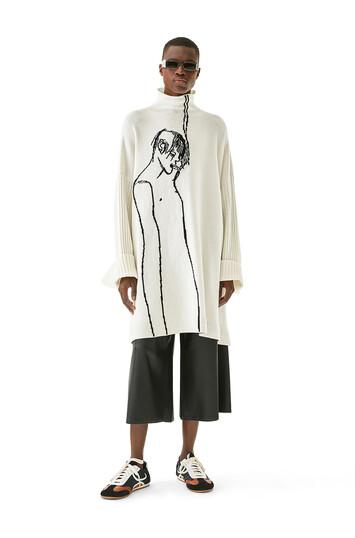 LOEWE Portrait Turtleneck Sweater Ecru/Negro front
