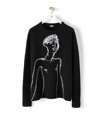 LOEWE Portrait Jacquard Sweater Black/White front