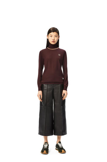 LOEWE Anagram embroidered high neck sweater in cashmere Burgundy pdp_rd