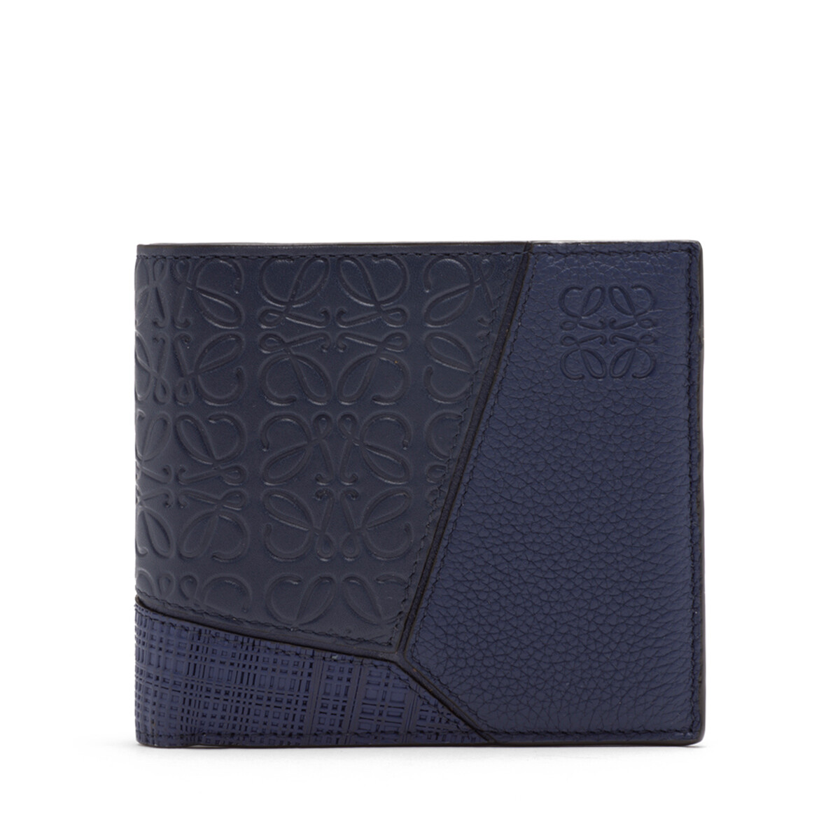 LOEWE Puzzle Bifold Wallet Navy Blue front