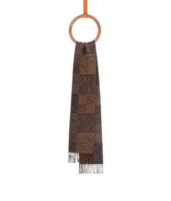 LOEWE 38X180 Scarf Anagram In Lines Khaki Green/Brown front