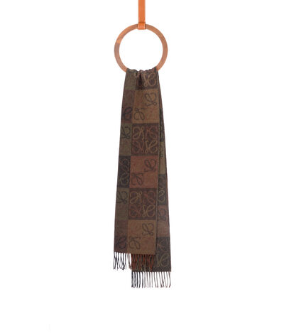 LOEWE 38X180 Scarf Anagram In Lines Khaki Green/Brown front