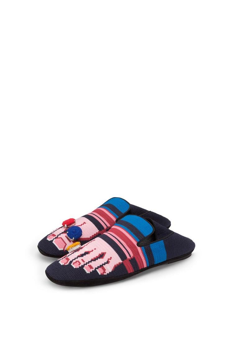 LOEWE Slipper in calfskin Navy Blue/Pink pdp_rd