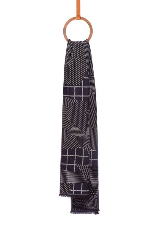 LOEWE 70X200 スカーフ パッチワーク グレイ/ブルー all