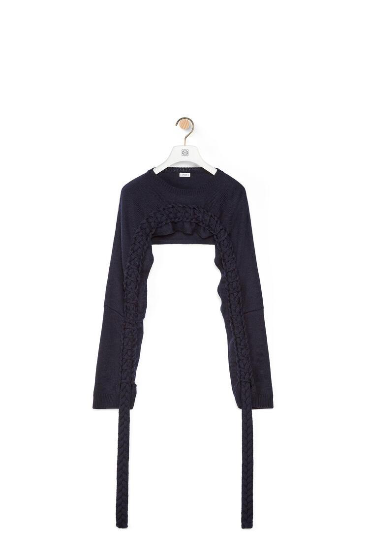 LOEWE Bolero trenzado en lana Marino pdp_rd
