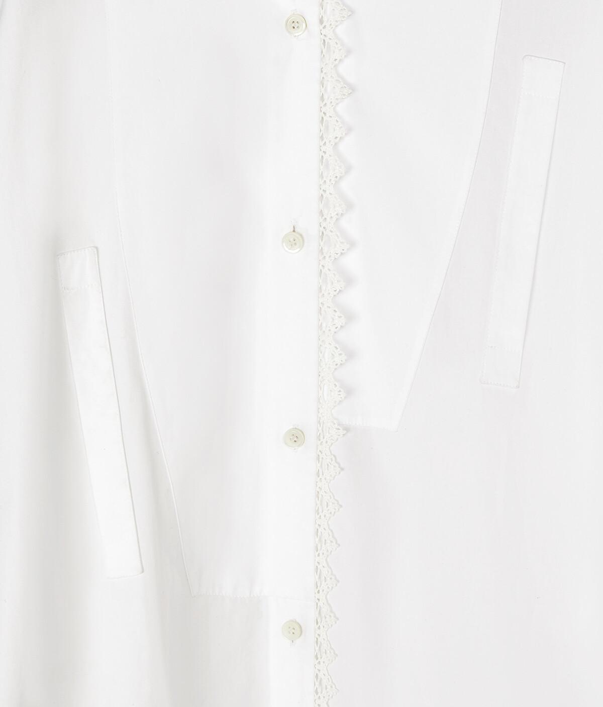 LOEWE Lace Detail Asymmetric Shirt Blanco front