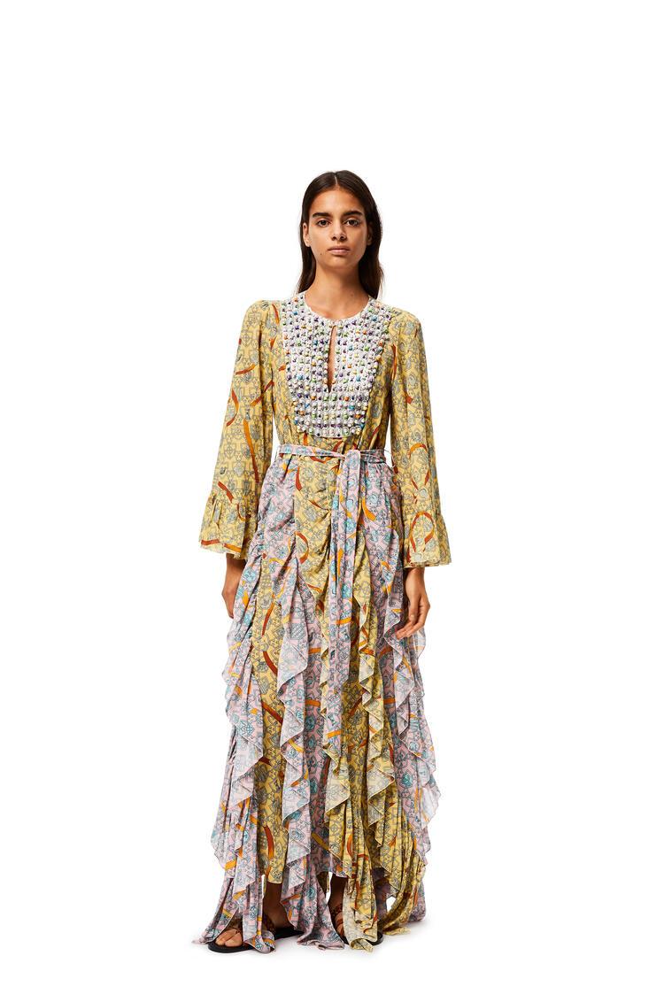 LOEWE Shield bib and ruffle dress in cotton Yellow/Pink pdp_rd