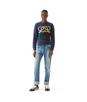 LOEWE Anagram Cut Sweatshirt Navy Blue front