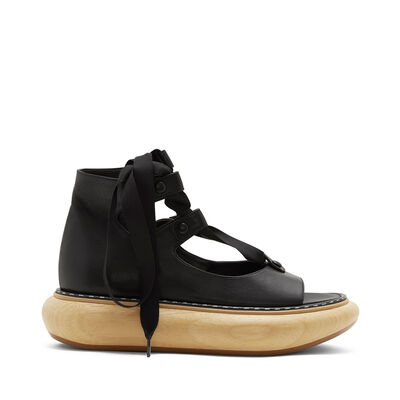 LOEWE Wood Platform Sandal 30 Black front