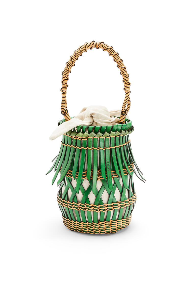 LOEWE Fringes Bucket bag in calfskin Green/Honey pdp_rd