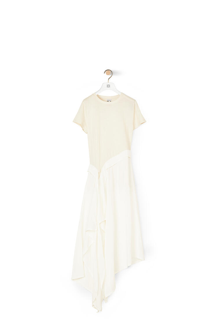 LOEWE T-shirt dress in cotton jersey and satin White/Off-white pdp_rd