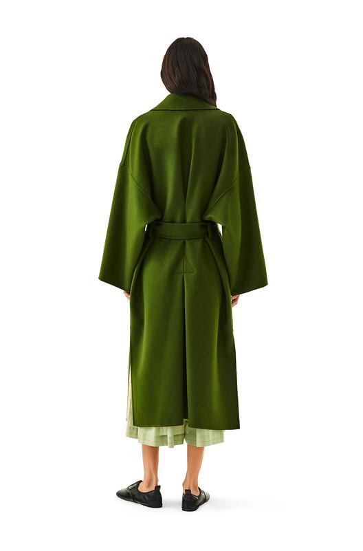 LOEWE Oversize Belted Coat Khaki Green front