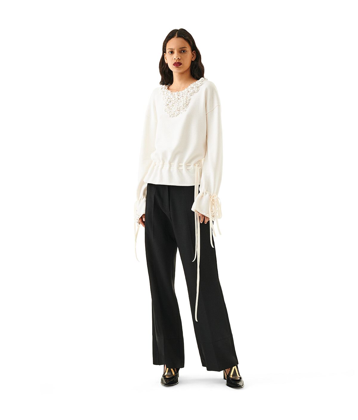 LOEWE Sweater Pearls Off-White front